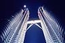 Petronas Twin Towers at full moon in Kuala Lumpur